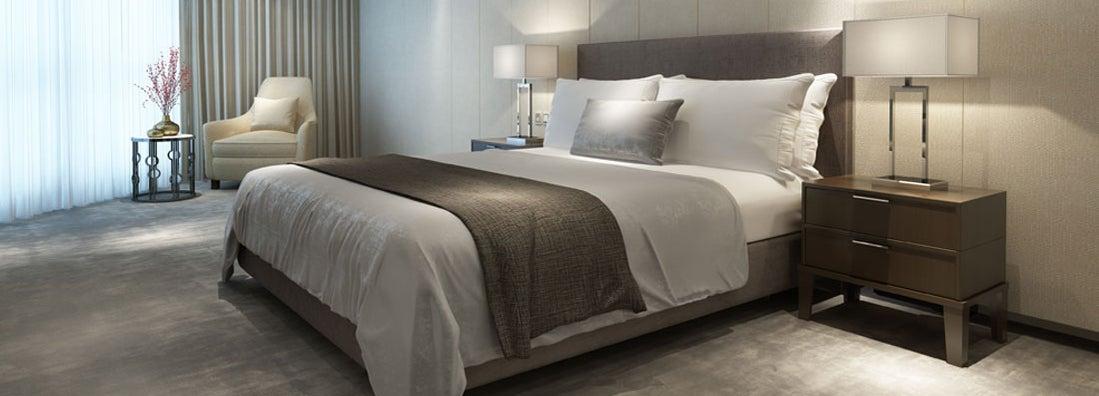 Contemporary modern luxury hotel bedroom