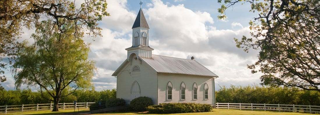 Old rural church in Willamette Valley, Oregon. Find church insurance.