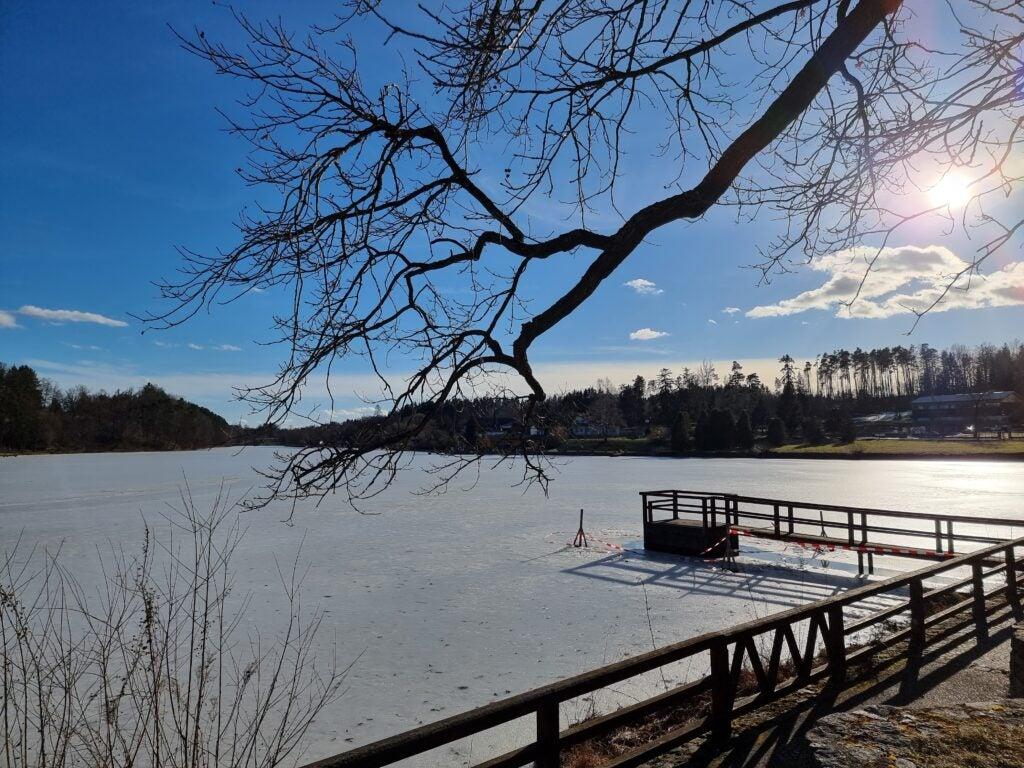 See im Winter mit Steg Testfoto Samsung Galaxy S21 Ultra 5G