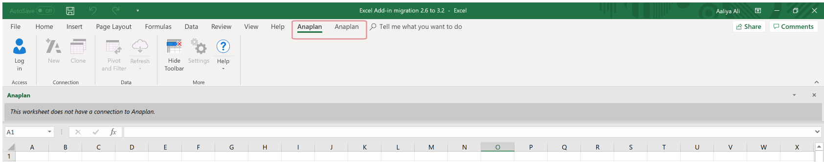 The selected Anaplan tab in this image is for Excel Add-in version 3.2 and displays version 3.2's ribbon. The unselected Anaplan tab is for Excel Add-in version 2.6.